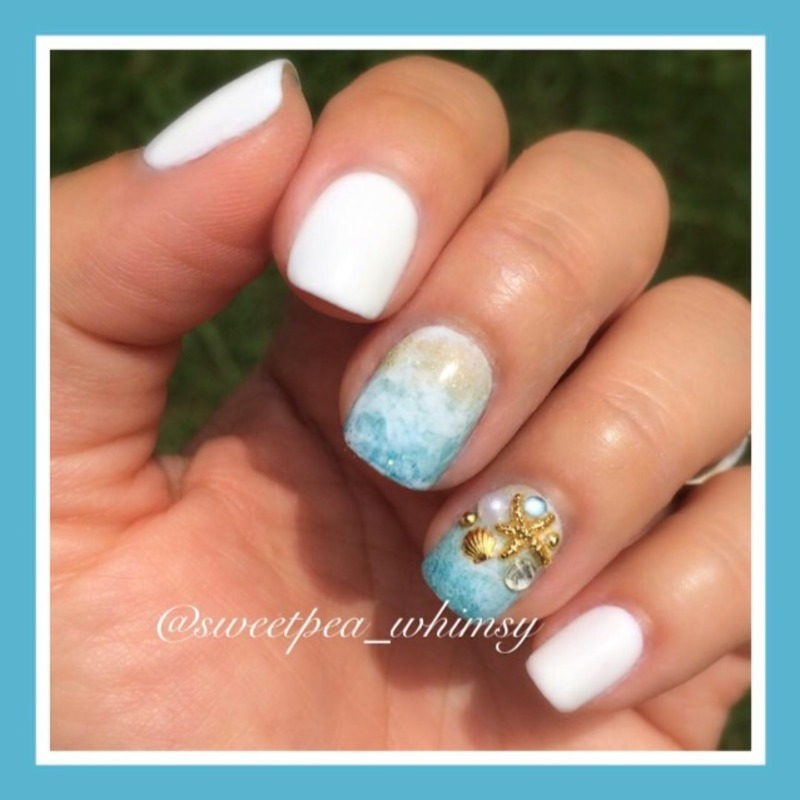 White Sandy Beaches nail art by SweetPea_Whimsy