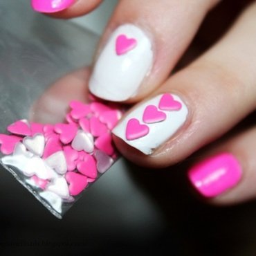 Neon Hearts nail art by Arnell