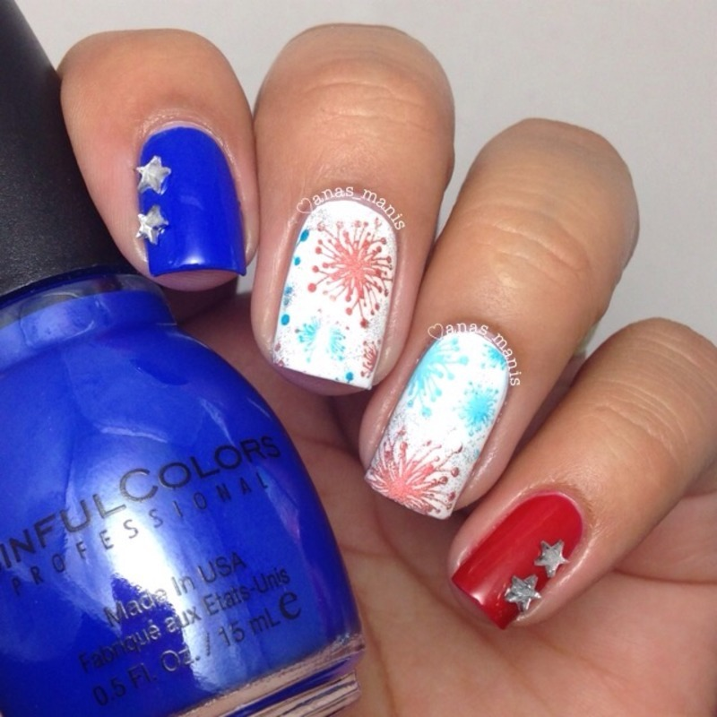 4th of July fireworks nail art by anas_manis