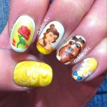 Beauty and the Beast nail art by Adi Buki