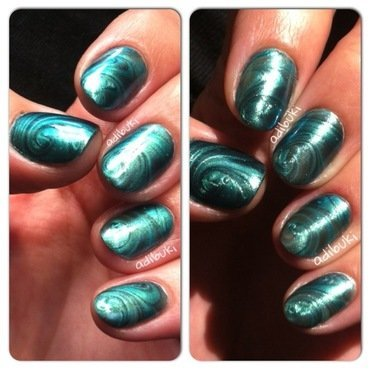 Green Water Marble Swirls nail art by Adi Buki
