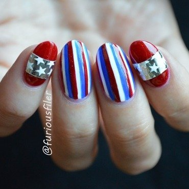 Happy Independence Day! nail art by Furious Filer