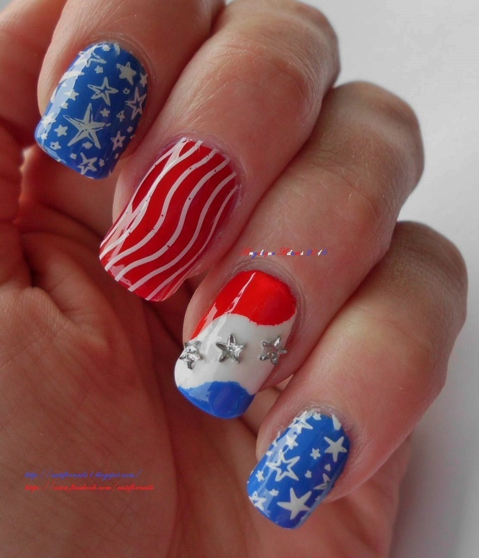 Fourth of July 2015 nail art by Angelique Adams
