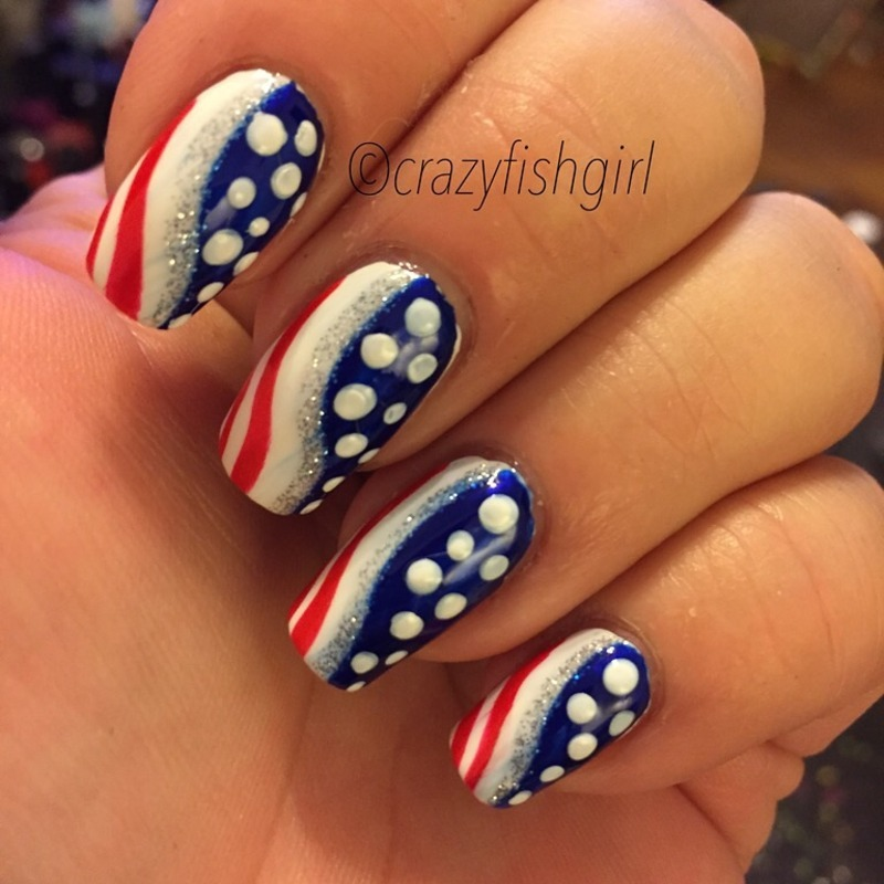 4th of July nails nail art by crazyfishgirl