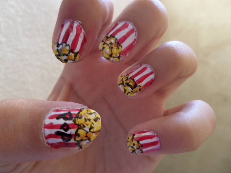 POP CORN nail art by Luzazul