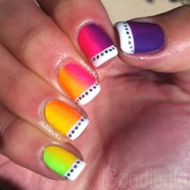Vertical Rainbow Gradient  nail art by Adi Buki