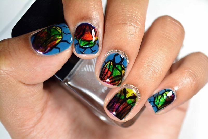 Beetle Shell nail art by Fatimah