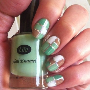 Mocha Mint inspired color blocking nail art by Adi Buki