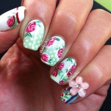 Dots & Vintage Flowers nail art by Adi Buki