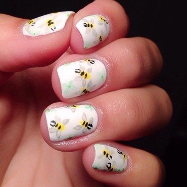 Bumblebees  nail art by Massiel Pena