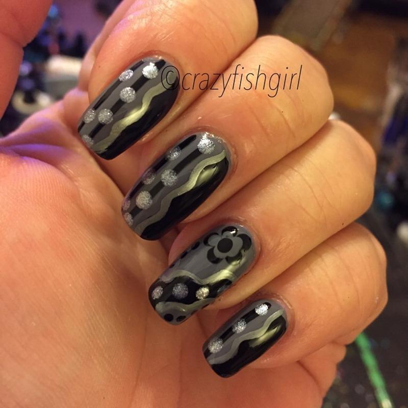 Black and grey nails nail art by crazyfishgirl