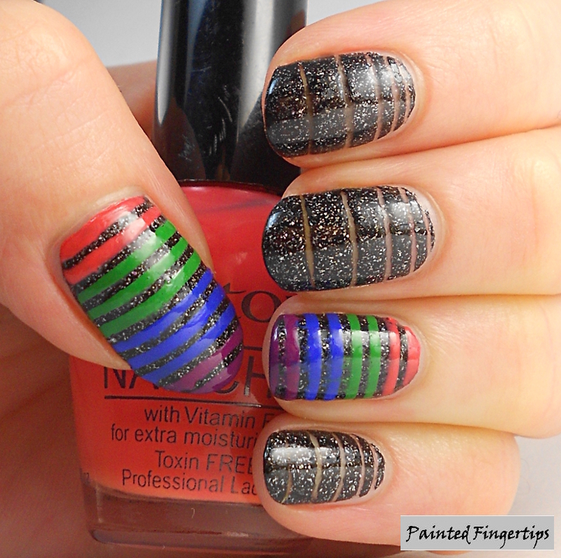 Negative Space and Rainbow Stripes nail art by Kerry_Fingertips
