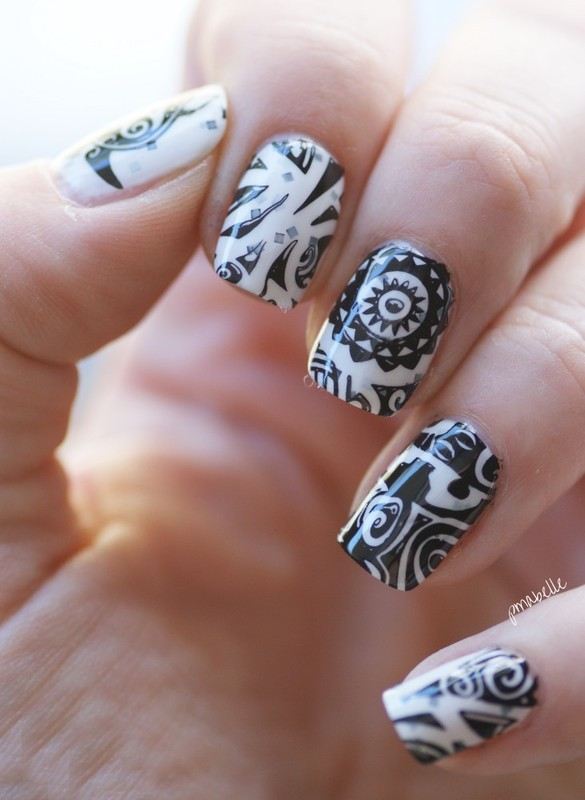 Hey Sailor in Tribal nail art by Pmabelle