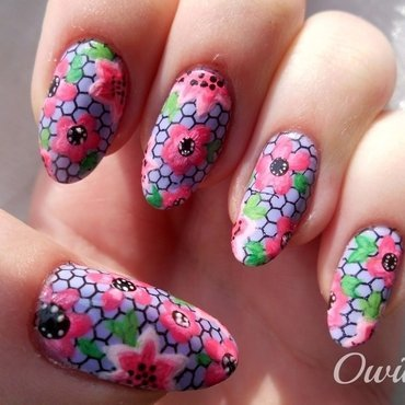 Pink flowers. nail art by Owidia