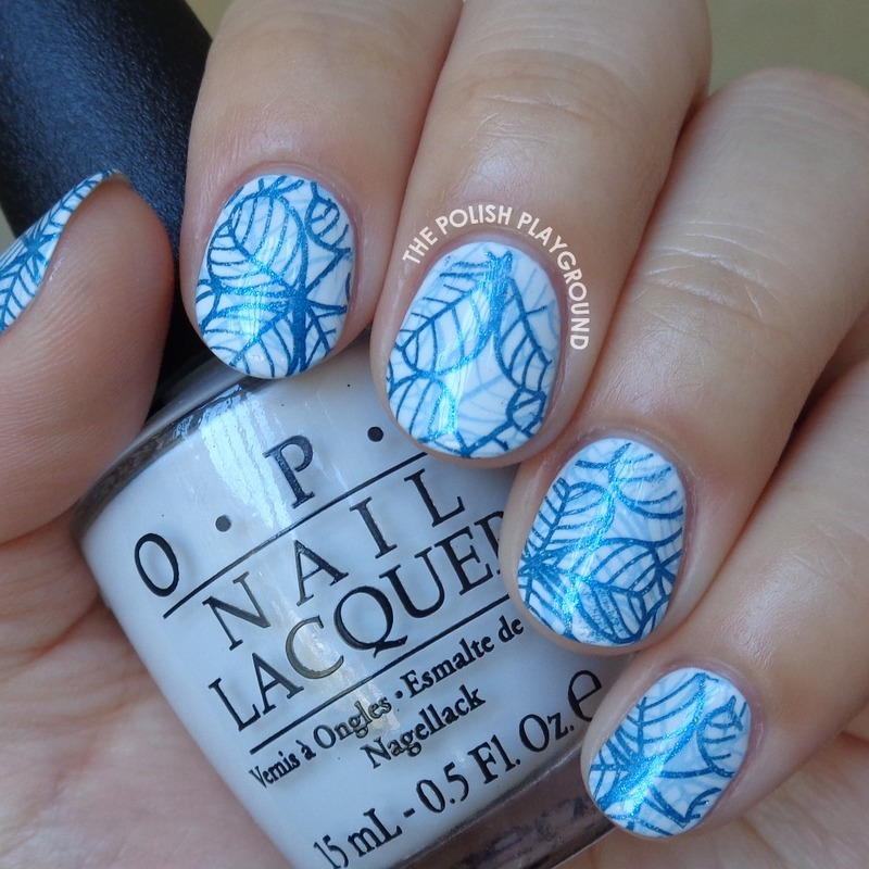 Double Blue Leafy Stamping nail art by Lisa N