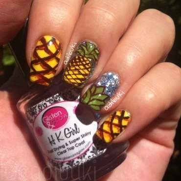 Pineapple & Glitter nail art by Adi Buki