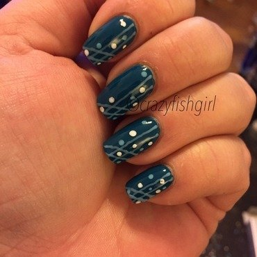 Teal blue and light blue lined nails nail art by crazyfishgirl