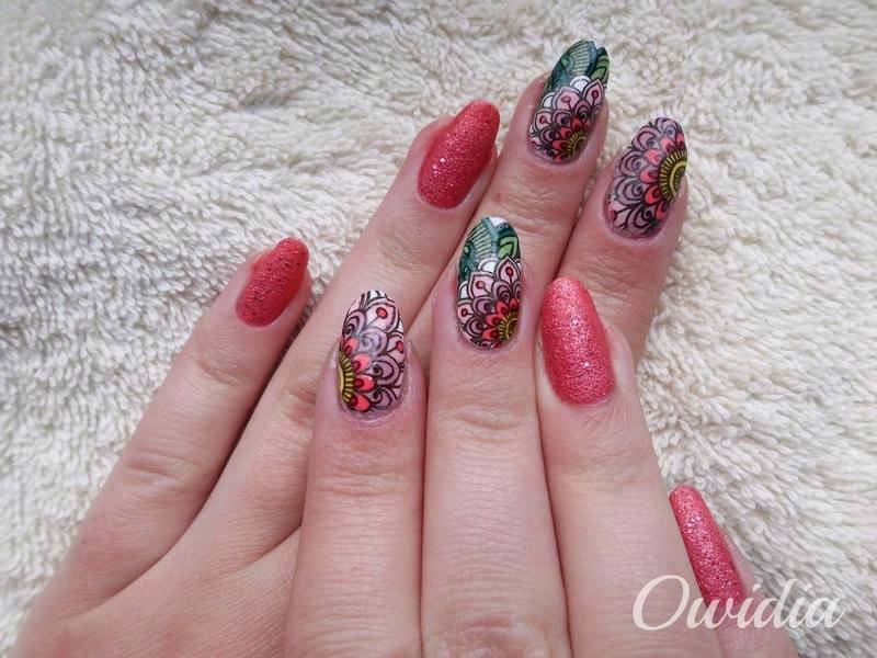 Cute stamping nail art. nail art by Owidia