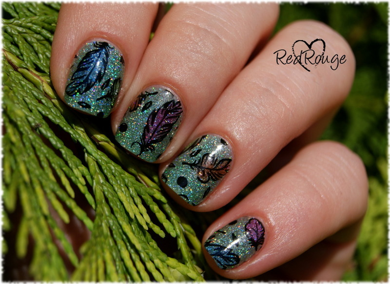 Sparkling feathers nail art by RedRouge