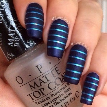 Matte stripes nail art by Virginia