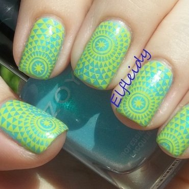 52WPNMC- aqua nail art by Jenette Maitland-Tomblin
