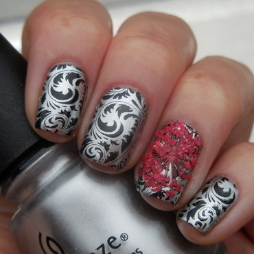 Silver & Black nail art by Donner