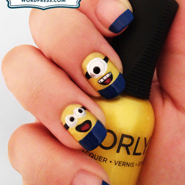 Minion Nails nail art by Katie