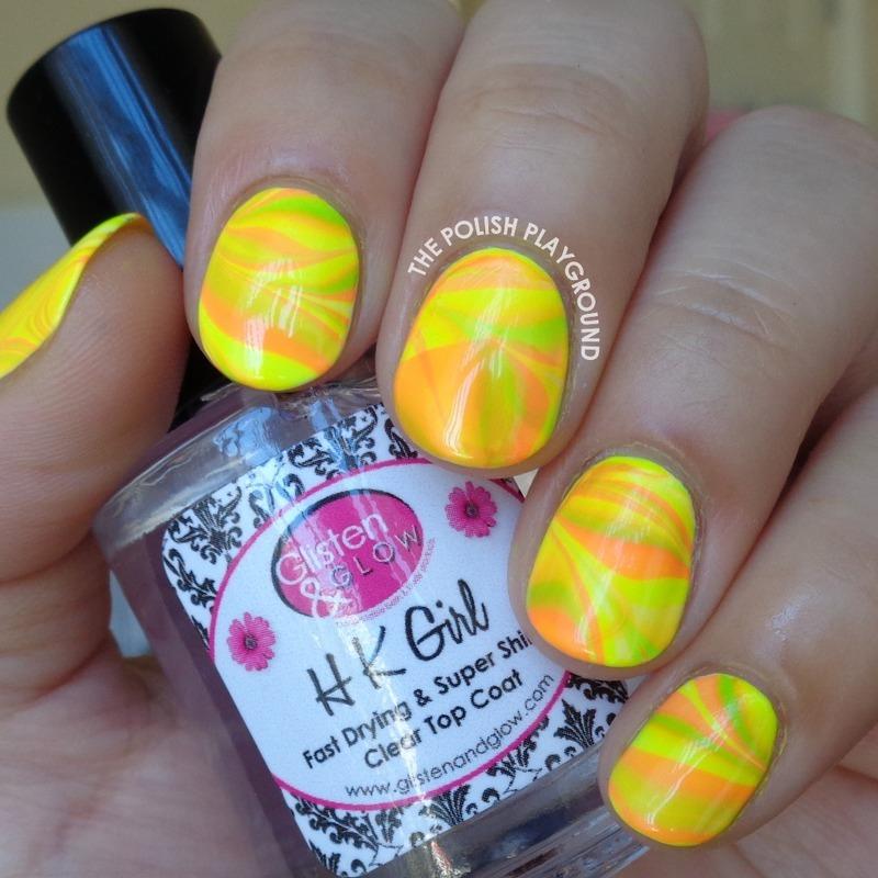 Neon Water Marble nail art by Lisa N