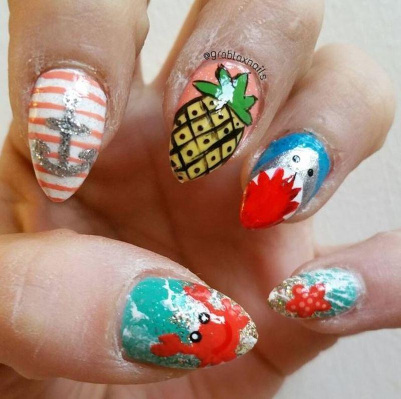 Shark Week Beach Nails nail art by Kristen Lovett