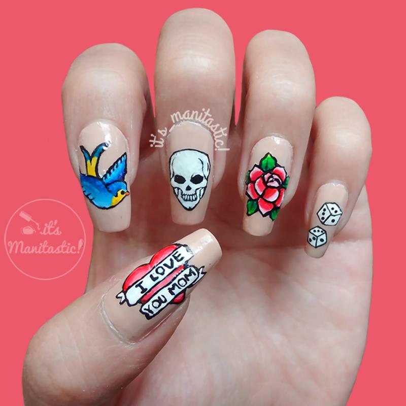 Old school tattoos nail art nail art by its_manitastic