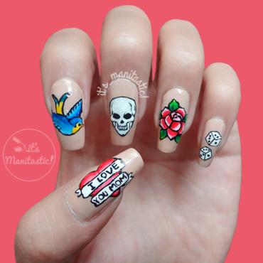 Old school tattoos nail art nail art by its_manitastic