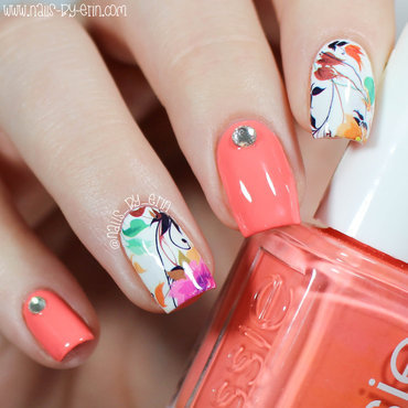 Orange & Floral Water Decal Nails nail art by Erin