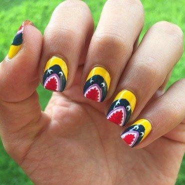 Shark week nail art by Ashley