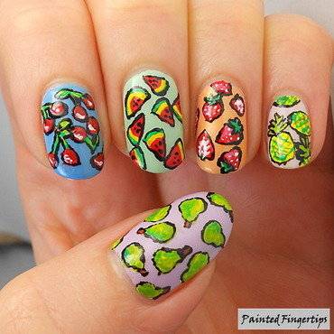 Fruit print nails thumb370f
