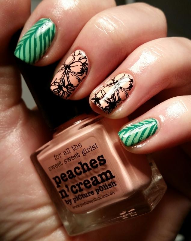 peach flower nail art by redteufelchen86
