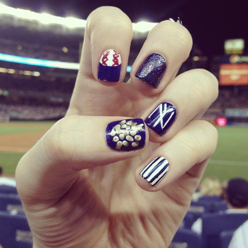 New York Yankees Game Day Nails nail art by emlocke - Nailpolis ...