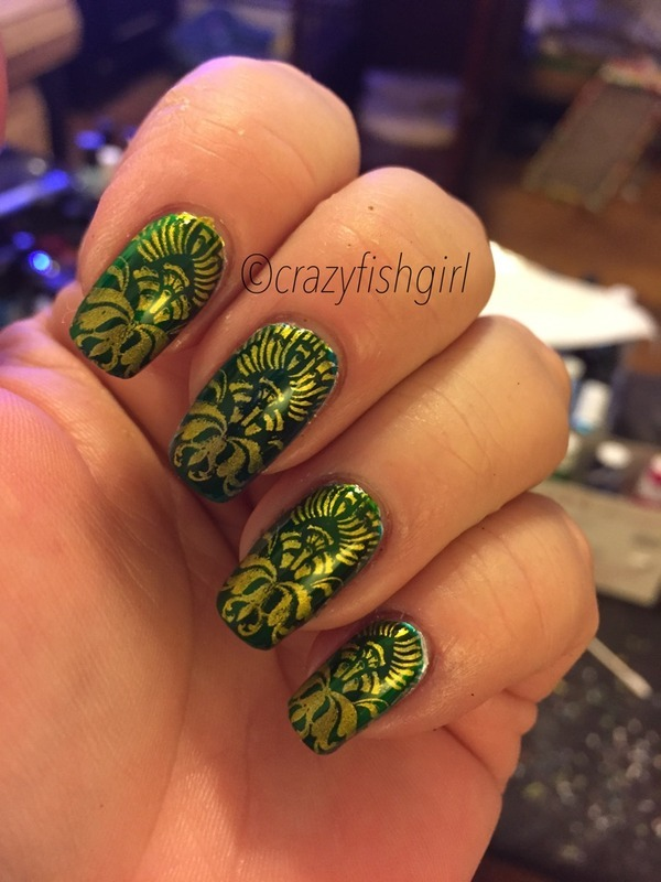 Baroque stamping nail art by crazyfishgirl