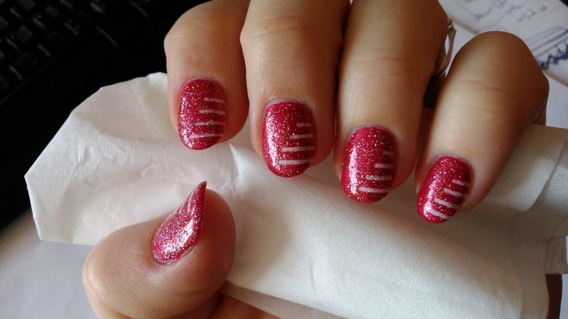 Pink stripes with holo top nail art by Nail Crazinesss