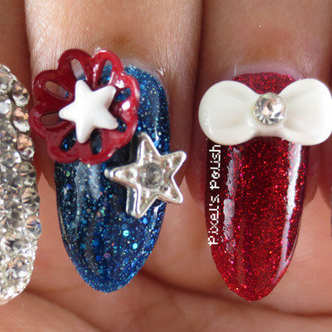 Dazzling 4th nail art by Pixel's Polish