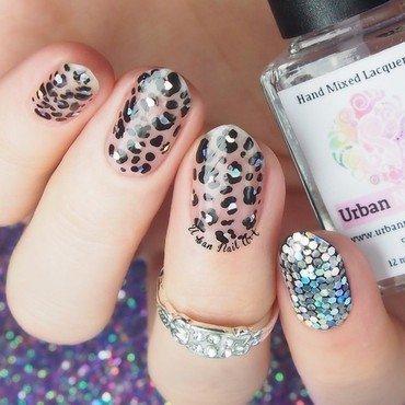 Negative Space Leopard Print nail art by Lou