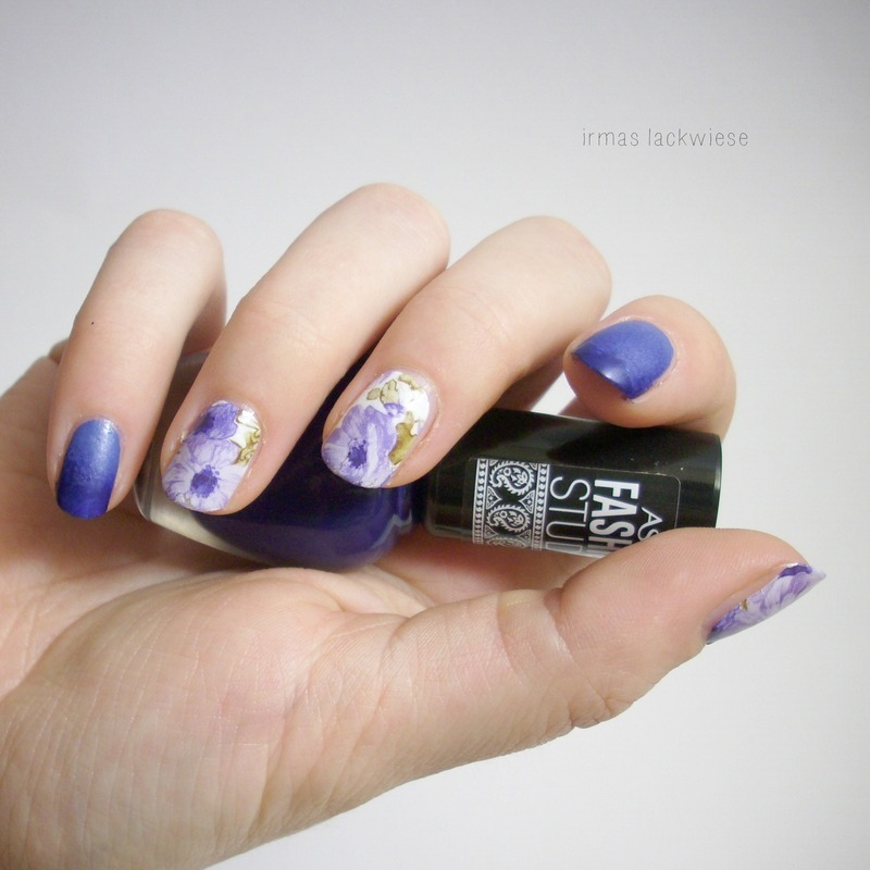 purple flower water decals nail art by irma