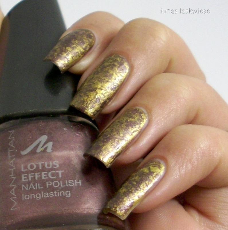 brown-gold saran wrap nails nail art by irma