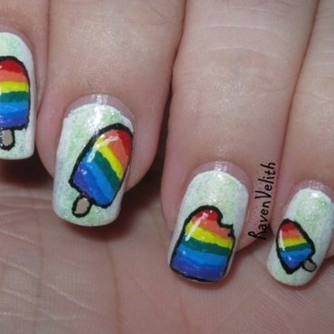 Rainbow Popsicles nail art by Lynni V.