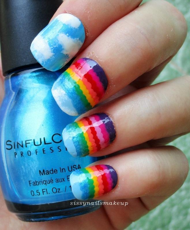 Rainbow ruffle mani nail art by sissynailsmakeup
