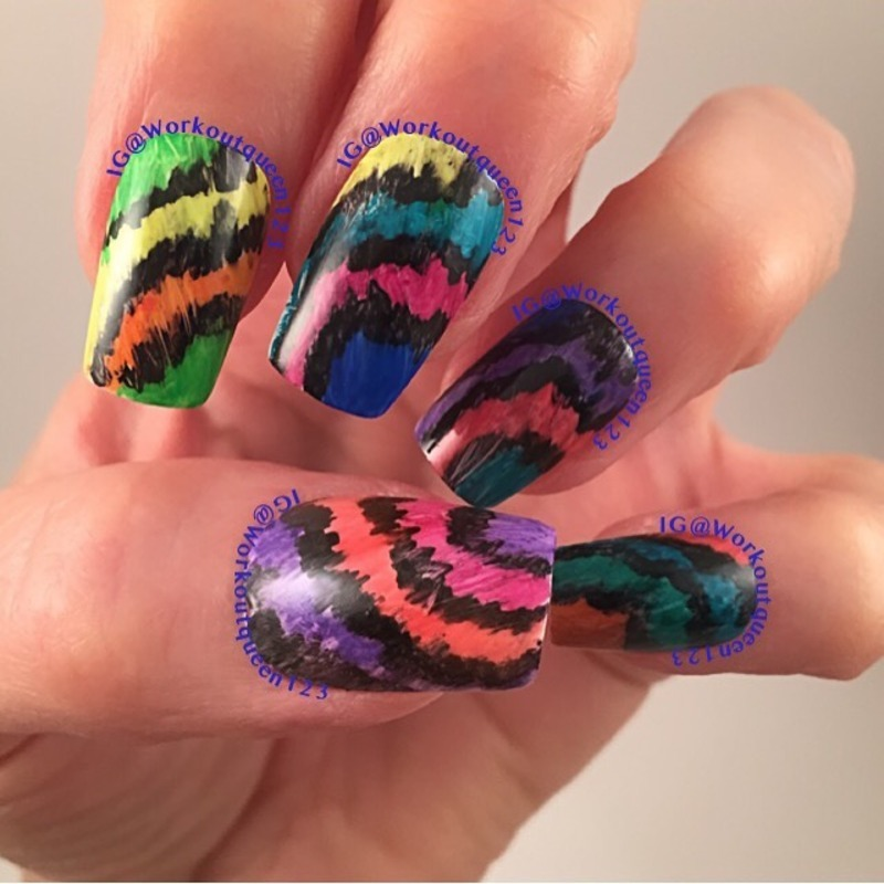 Tie Dye with sharpies nail art by Workoutqueen123