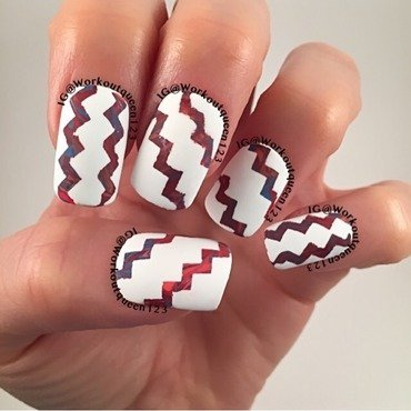 Zig Zag with dry marbling nail art by Workoutqueen123