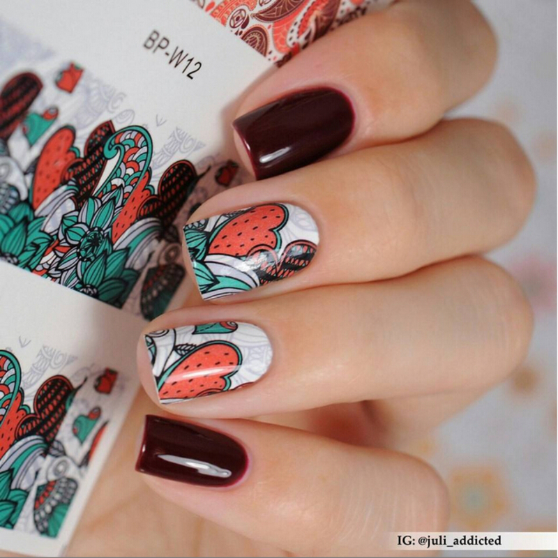 Awesome Floral Water Decals Manicure nail art by Born Pretty