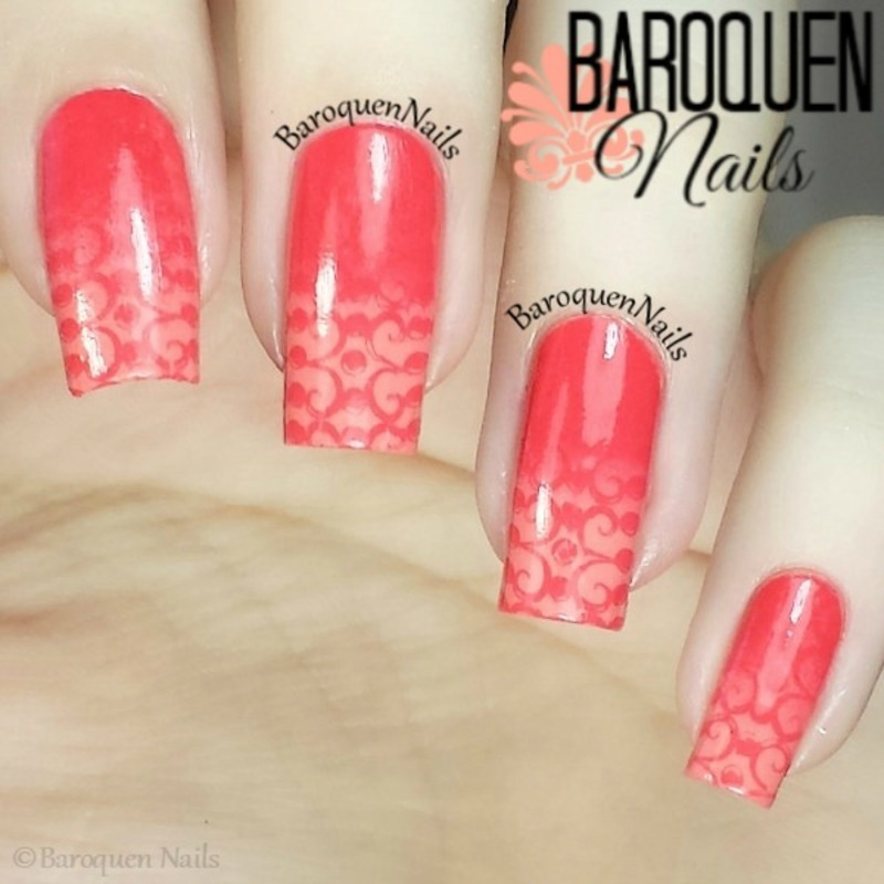Coral And Peach Ombre nail art by BaroquenNails