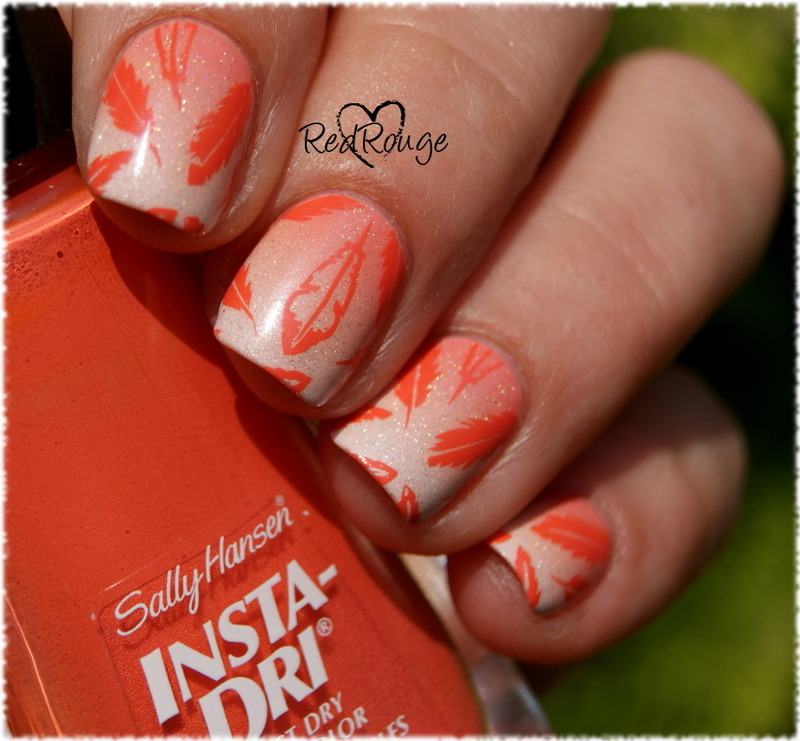 Orange feathers nail art by RedRouge