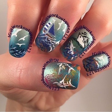 Sharks nail art by Workoutqueen123